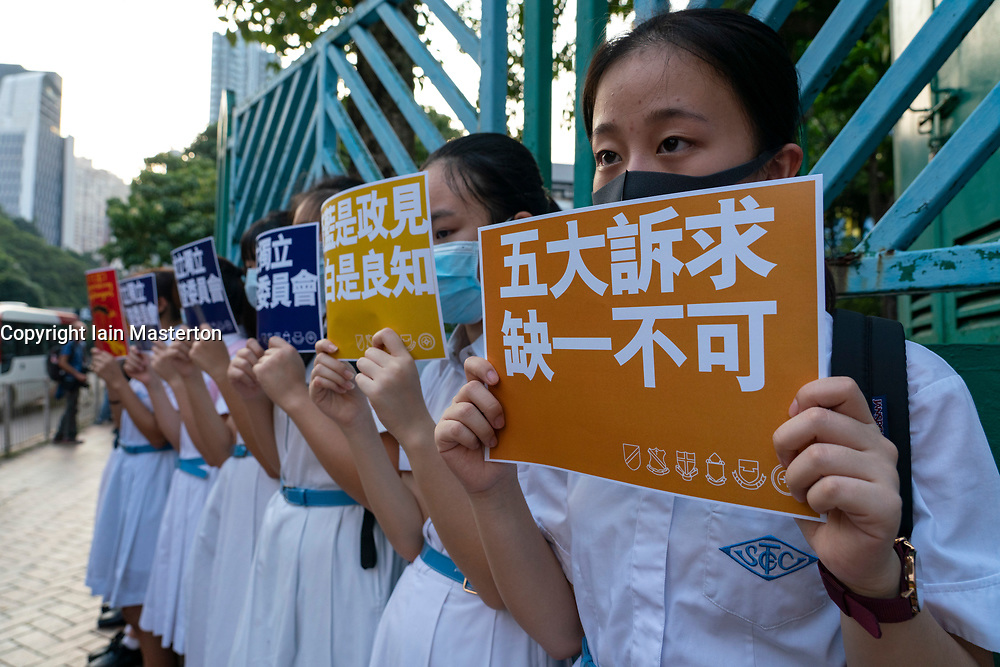 Wanchai, Hong Kong. 26 September, 2019. Human chain formed by students from local secondary schools in Hong Kong to support the pro democracy movement and anti-extradition bill. One of many planned demonstrations in run up to 70h anniversary of founding of PRC on 1 Oct 2019.