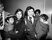 As part of a resettlement plan initiated by the United Nations, Ireland agreed to welcome a number of Vietnamese families displaced by the Vietnam war. Here, Mr Nga Van Thai, his wife and two children arrive at Dublin Airport, as part of a group of seventeen who hoped to settle here.<br />