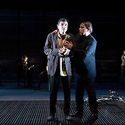 October 3, 2012 - Brooklyn, NY : Serge Maggiani, left, and Hugues Quester perform in a technical rehearsal of the Théâtre de la Ville's production of French-Romanian playwright Eugène Ionesco's 1959 play 'Rhinocéros' at BAM in Brooklyn on Wednesday night. The traveling production will perform from Oct. 4-6, 2012. CREDIT: Karsten Moran for The New York Times