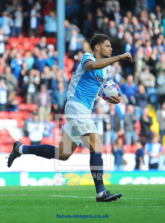 Rudy Gestede of Blackburn Rovers celebrates scoring his team's first goal during the Sky Bet Championship match at Ewood Park, Blackburn<br /> Picture by Greg Kwasnik/Focus Images Ltd +44 7902 021456<br /> 27/09/2014