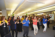 Sam Houston MTSC staff members are inspired to dance by the school's talented mariachi band.