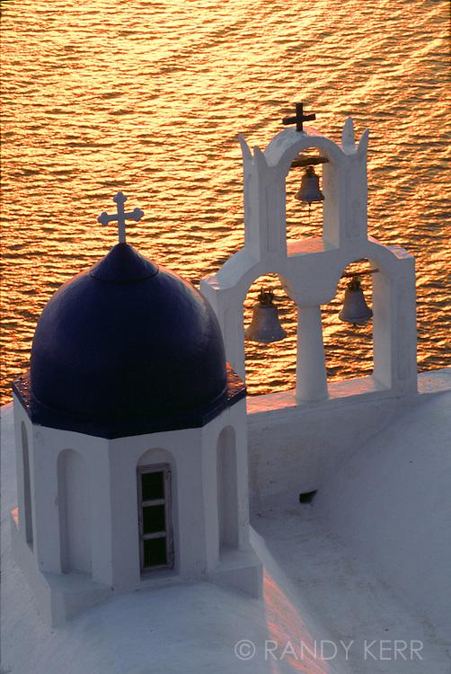 Church bells on the Caldera at sunset