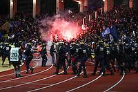 Supporters Bastia / Securite Police - 04.02.2015 - Monaco / Bastia - 1/2Finale Coupe de la Ligue<br /> Photo : Sebastien Nogier / Icon Sport
