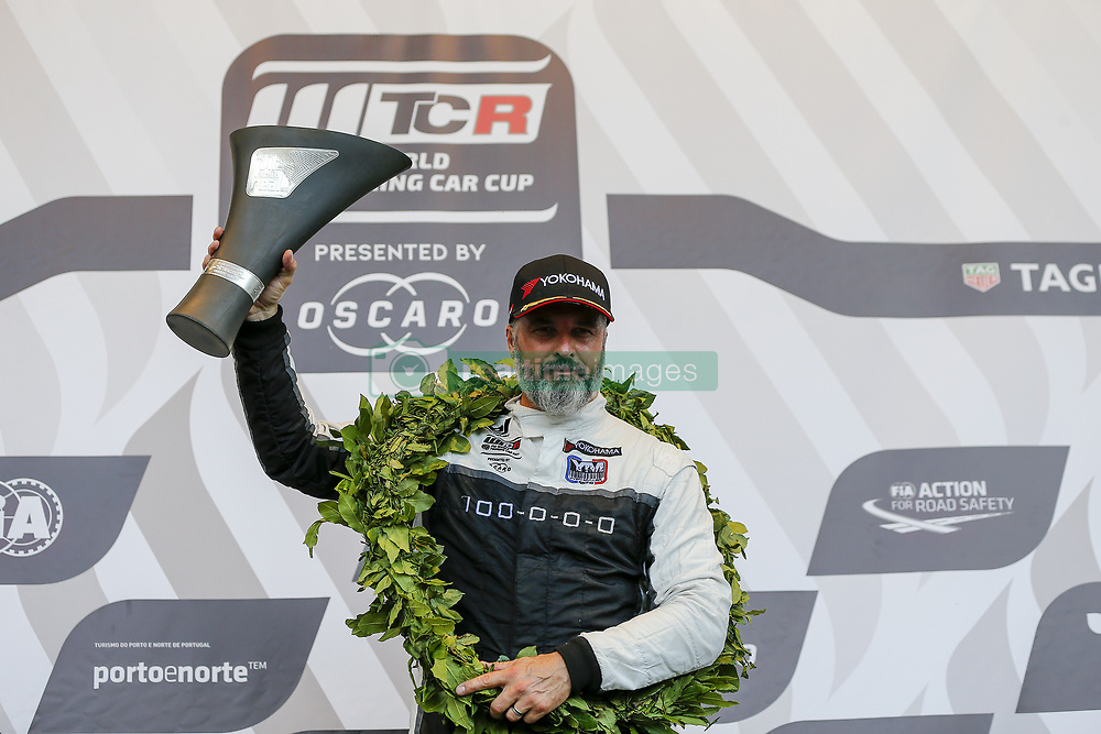 June 23, 2018 - Vila Real, Vila Real, Portugal - Yvan Muller from France in Hyundai i30 N TCR of MRacing - YMR celebrating the victory of race 1 in the podium ceremony of FIA WTCR 2018 World Touring Car Cup Race of Portugal, Vila Real, June 23, 2018. (Credit Image: © Dpi/NurPhoto via ZUMA Press)