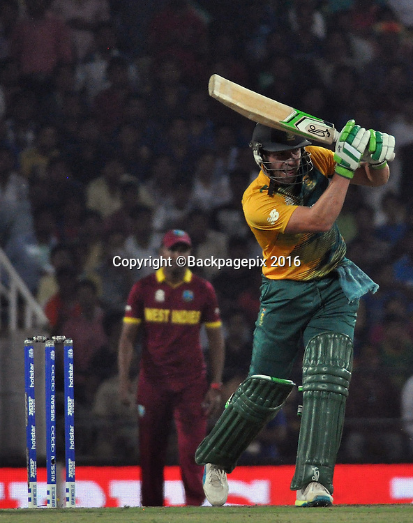 Rilee Rossouw of South Africa catched  Andre Russell  bowled by Chris Gayle of West Indies not in the picture during the 2016 ICC World T20 cricket match between South Africa and West Indies at Vidharbha Cricket Association, Jamtha, India on 25 March 2016 ©BackpagePix