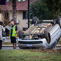 Mazda rolled over outside Mount Henry Tavern, Como, Western Australia.