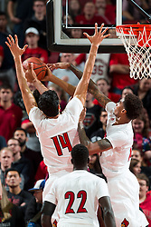 Louisville forward Anas Mahmoud, and forward Ray Spalding block a shot in the second half. The University of Louisville hosted Eastern Kentucky University, Saturday, Dec. 17, 2016 at The KFC Yum Center in Louisville. Louisville won 87-56.