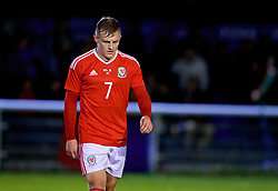 BANGOR, WALES - Tuesday, November 14, 2017: Wales' George Thomas shows a look of dejection during the UEFA Under-21 European Championship Qualifying Group 8 match between Wales and Romania at the Nantporth Stadium. (Pic by Paul Greenwood/Propaganda)