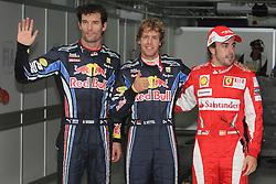 Motorsports / Formula 1: World Championship 2010, GP of Korea, 06 Mark Webber (AUS, Red Bull Racing),   05 Sebastian Vettel (GER, Red Bull Racing), 08 Fernando Alonso (ESP, Scuderia Ferrari Marlboro),