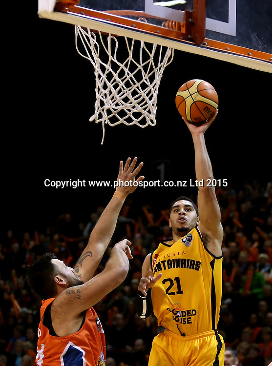 Aaron Fuller of the Mountain Airs takes a shot  during the NBL basketball match between the Sharks and Mountain Airs at ILT Stadium Southland, Invercargill, Friday, June 05, 2015. Photo: Dianne Manson / www.photosport.co.nz