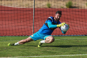 Forest Green Rovers goalkeeper Sam Russell(23) warming up during the Pre-Season Friendly match between SC Farense and Forest Green Rovers at Estadio Municipal de Albufeira, Albufeira, Portugal on 25 July 2017. Photo by Shane Healey.