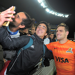 A fan takes a selfie with Nicolas Sanchez after the Super Rugby match between the Blues and Jaguares at Eden Park in Auckland, New Zealand on Friday, 28 April 2018. Photo: Dave Lintott / lintottphoto.co.nz
