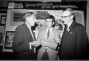 "28/06/1967<br /> 06/28/1967<br /> 28 June 1967<br /> Presentation of prizes at Navan Carpets ""Young Designer of the Year"" reception in the Royal Hibernian Hotel, Dublin. Image shows Mr. Michael Bourke, Principal of the National College of Art; Mr. Leo Hogan, Limerick and Mr. J. Short, Navan Carpets Ltd at the reception."