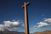 An old Catholic crucifix placed by the Spanish on the edge of an old Inca town called Maras.
