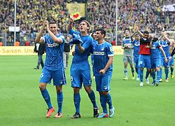 18.05.2013, Signal Iduna Park, Dortmund, GER, 1. FBL, Borussia Dortmund vs TSG 1899 Hoffenheim, 34. Runde, im Bild Niklas SUELE (TSG 1899 Hoffenheim), Jannik VESTERGAARD #29 (TSG 1899 Hoffenheim) und Kevin VOLLAND #31 (TSG 1899 Hoffenheim) freuen sich nach dem Abpfiff/ Jubel mit Fans/ Emotion // during the German Bundesliga 34th round match between Borussia Dortmund and TSG 1899 Hoffenheim at the Signal Iduna Park, Dortmund, Germany on 2013/05/18. EXPA Pictures © 2013, PhotoCredit: EXPA/ Eibner/ Schueler..***** ATTENTION - OUT OF GER *****