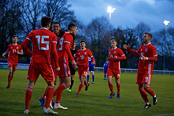 BANGOR, WALES - Tuesday, November 20, 2018: Wales' Lewis Collins (3rd L) celebrates scoring the first goal with team-mates Brennan Johnson, Jack Vale, Ryan Astley, Sam Bowen, Ryan Stirk and Daniel Griffiths during the UEFA Under-19 Championship 2019 Qualifying Group 4 match between Wales and San Marino at the Nantporth Stadium. (Pic by Paul Greenwood/Propaganda)