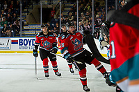 KELOWNA, BC - OCTOBER 2:  Liam Kindree #26 of the Kelowna Rockets celebrates a second period goal against the Tri-City Americans  at Prospera Place on October 2, 2019 in Kelowna, Canada. (Photo by Marissa Baecker/Shoot the Breeze)