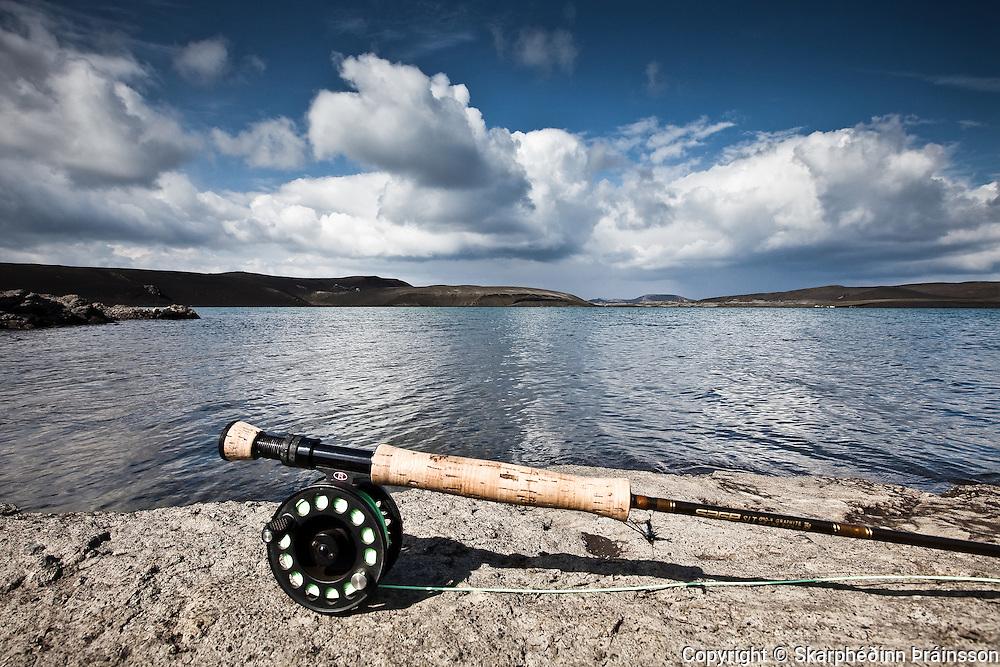 Fishingrod in Veiðivötn, central highlands Iceland