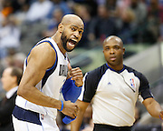 Dallas Mavericks shooting guard Vince Carter (25) reacts to a technical foul against Dallas Mavericks head coach Rick Carlisle against the San Antonio Spurs in the fourth quarter at American Airlines Center in Dallas, Texas, on January 25, 2013.  (Stan Olszewski/The Dallas Morning News)