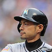 NEW YORK, NEW YORK - July 05: Ichiro Suzuki #51 of the Miami Marlins preparing to bat during the Miami Marlins Vs New York Mets regular season MLB game at Citi Field on July 04, 2016 in New York City. (Photo by Tim Clayton/Corbis via Getty Images)