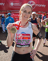 Olympic Athlete Kim Wall at the end of the Virgin Money London Marathon 2014 on Sunday 13 April 2014<br /> Photo: Roger Allan/Virgin Money London Marathon<br /> media@london-marathon.co.uk