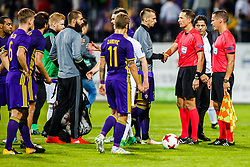 Zlatko Zahovic sport director of NK Maribor and umpires after 1st Leg football match between NK Maribor (SLO) and FH Hafnarfjordur (ISL) in Third qualifying round of UEFA Champions League 2017/18, July 26, 2017, in Stadium Ljudski vrt, Maribor, Slovenia. Photo by Grega Valancic / Sportida