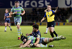 Cameron Nield of Sale Sharks tackles Rob Vickers of Newcastle Falcons - Mandatory by-line: Matt McNulty/JMP - 08/09/2017 - RUGBY - AJ Bell Stadium - Sale, England - Sale Sharks v Newcastle Falcons - Aviva Premiership
