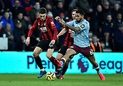 Harry Wilson (22) of AFC Bournemouth battles for possession with Douglas Luiz (6) of Aston Villa during the Premier League match between Bournemouth and Aston Villa at the Vitality Stadium, Bournemouth, England on 1 February 2020.