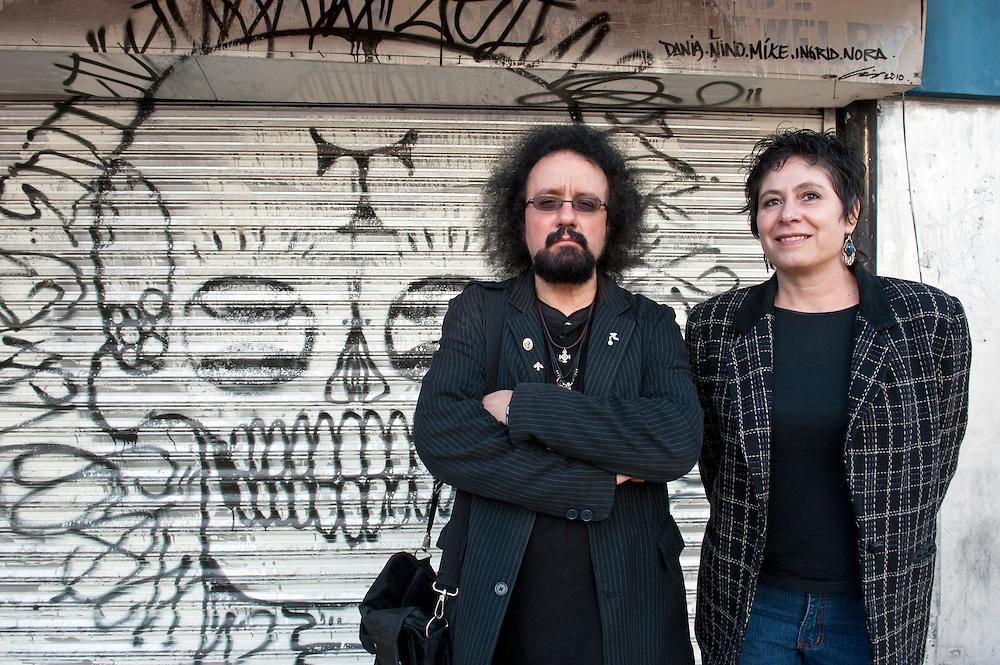Octavio Hernandez and Rosalba Valesco, editors of the magazine TijuaNEO,  in downtown Tijuana...© Stefan Falke.http://www.stefanfalke.com/..