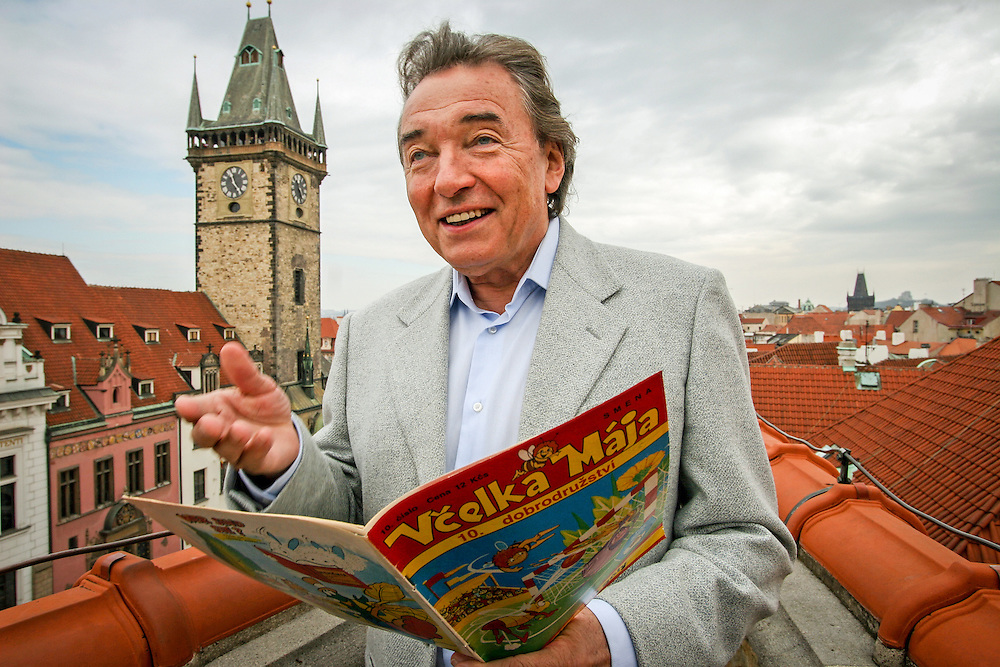 "Famous Czech singer Karel Gott on the roofgarden of hotel ""U Prince"" with view to the Old Town Square in the center of Prague."