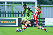 Southampton's Jack Turner(68) tackles Forest Green Rovers Udoka Godwin-Malife(22)  during the EFL Trophy match between Forest Green Rovers and U21 Southampton at the New Lawn, Forest Green, United Kingdom on 3 September 2019.