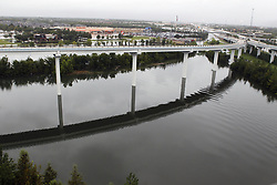 (170827) -- HOUSTON, Aug. 27, 2017 (Xinhua) -- The water level of a river rises due to heavy rain and flood in great Houston area, Texas, the United States, Aug. 27, 2017. Widespread and worsening flood conditions prompted the closure of nearly every major road in Houston as the outer bands of Hurricane Harvey swept through the Houston area over the weekend. Latest news reports said the storm death toll has climbed to at least 5. (Xinhua/Song Qiong) (Photo by Xinhua/Sipa USA)