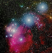 Orion's belt, with the three bright stars Alnitak, Alnilam and Mintaka. We do also see the dark Horsehead Nebula (B33)  against the the emission nebula IC434 and the Flame Nebula (NGC2024), all in the great constellation of Orion.