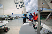 World Sailing Emerging Nations Program - Boca Chica Sailing Club, Santo Domingo 08/19/2017 - DAY 1- Pupils prepare for a sailing practice at the Yatch Club sailing school
