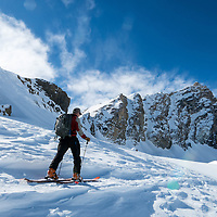 Backcountry splitboarding in Jasper National Park, Alberta, Canada.<br />