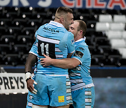 Nikola Matawalu of Glasgow Warriors celebrates scoring his sides third try<br /> <br /> 2nd November, Liberty Stadium , Swansea, Wales ; Guinness pro 14's Ospreys Rugby v Glasgow Warriors ;  <br /> <br /> Credit: Simon King/News Images<br /> <br /> Photographer Simon King/Replay Images<br /> <br /> Guinness PRO14 Round 8 - Ospreys v Glasgow Warriors - Friday 2nd November 2018 - Liberty Stadium - Swansea<br /> <br /> World Copyright © Replay Images . All rights reserved. info@replayimages.co.uk - http://replayimages.co.uk