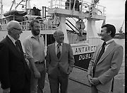 "Super Trawler ""Antarctic"".    (N44)..1980..02.10.1980..10.02.1980..2nd October 1980..The first of five super-trawlers for Ireland, The Antarctic, for Kevin McHugh,an Achaill Islander,arrived in Dublin today.The vessel whch cost over £2million marks the beginning of a middle water fleet for Ireland..Image shows Michael McHugh, Chairman, Irish Fish Producers Organisation,Mr Brendan O'Kelly, Chairman, Bórd Iascaigh Mhara and the skipper of 'Antarctic' Kevin McHugh..Unfortunately we do not have the name of the bearded gentleman if you know him why not contact us at irishphotoarchive@gmail.com"