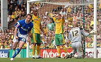 Photo: Ashley Pickering.<br /> Norwich City v Ipswich Town. Coca Cola Championship. 22/04/2007.<br /> David Wright celebrates his equalising goal for Ipswich