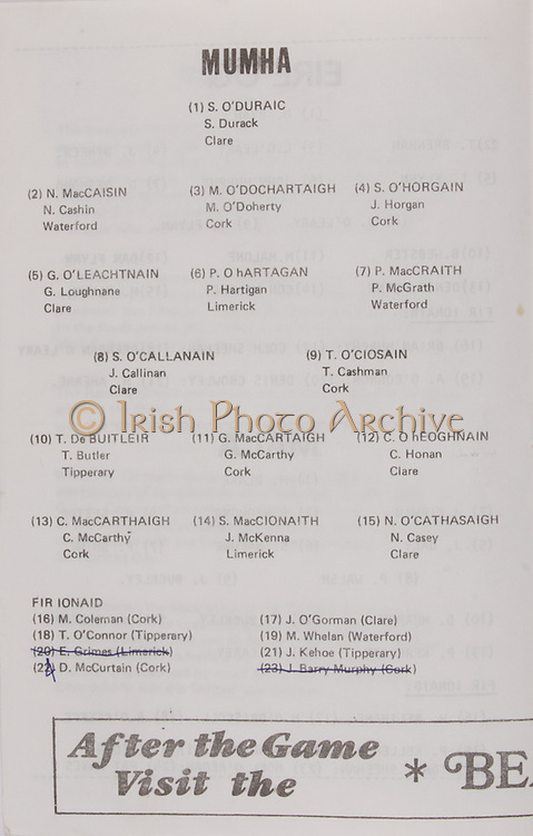 Interprovincial Railway Cup Hurling Cup Final,  07.05.1978, 05.17.1978, 07th May 1978, referee G O'Riain, Munster 2-13, Leinster 1-11, Hurling Team Munster, N Cashin, Waterford, G Loughnane, Clare, J Callinan, Clare, S Durack, Clare, M O'Doherty, P Hartigan, Limerick, J Horgan, Cork, P McGrath, Waterford, T Cashman, Cork, T Butler, Tipperary, C McCarthy, Cork, G McCarthy, Cork J McKenna, Limerick, C Honan, Clare, N Casey, Clare, M Coleman, Cork, T O'Connor, Tipperary, E Grimes, Limerick, D McCurtain, Cork, J O'Gorman, Clare, M Whelan, Waterford, J Kehoe, Tipperary, J Barry Murphy, Cork,   Railway Cup Hurling.Munster v Connacht.Pairc Ui Chaoimh.16th April 1978.16.04.1978