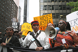 Protest organized by the Amazon Watch organization during the UN Permanent Forum on Indigenous Issues, NYC, 2010.