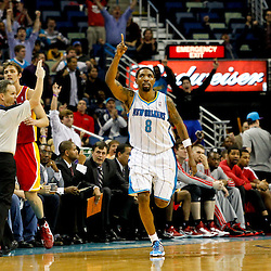 Jan 9, 2013; New Orleans, LA, USA; New Orleans Hornets shooting guard Roger Mason Jr. (8) celebrates after hitting a three point basket in the fourth quarter of a game against the Houston Rockets at the New Orleans Arena. The Hornets defeated the Rockets 88-79. Mandatory Credit: Derick E. Hingle-USA TODAY Sports
