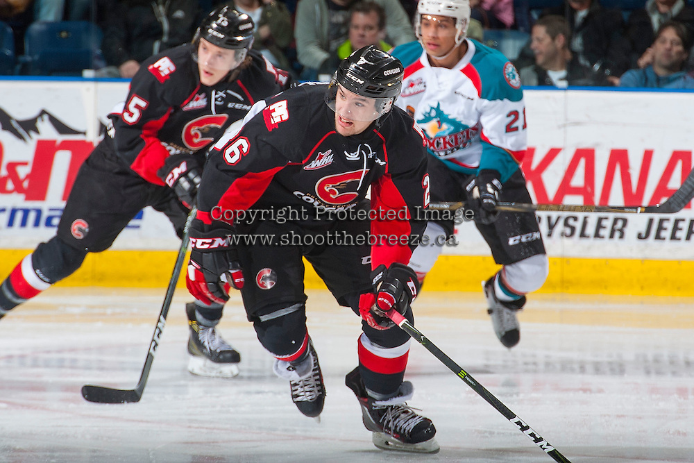 KELOWNA, CANADA - MARCH 1: Kody McDonald #26 of the Prince George Cougars skates against the Kelowna Rockets on MARCH 1, 2017 at Prospera Place in Kelowna, British Columbia, Canada.  (Photo by Marissa Baecker/Shoot the Breeze)  *** Local Caption ***