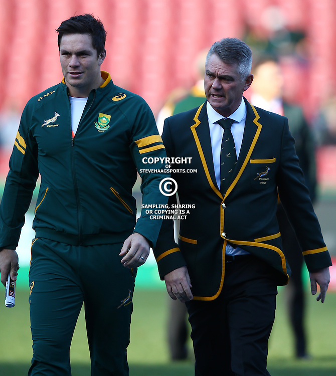 JOHANNESBURG, SOUTH AFRICA - JULY 25: Francois Louw of South Africa with Heyneke Meyer (Head Coach) of South Africa during The Castle Lager Rugby Championship 2015 match between South Africa and New Zealand at Emirates Airline Park on July 25, 2015 in Johannesburg, South Africa. (Photo by Steve Haag/Gallo Images)