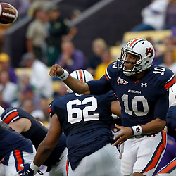 October 22, 2011; Baton Rouge, LA, USA; Auburn Tigers quarterback Kiehl Frazier (10) throws against the LSU Tigers during the second half at Tiger Stadium. LSU defeated Auburn 45-10. Mandatory Credit: Derick E. Hingle-US PRESSWIRE / © Derick E. Hingle 2011
