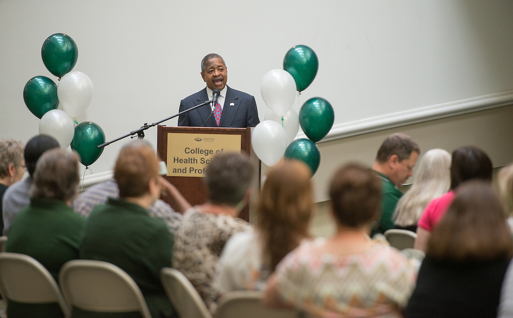 Ohio University President Roderick McDavis speaks at a cermony celebrating the 25 anniversary of the formation of the Classified Senate at Ohio University. Photo by Ben Siegel/ Ohio University