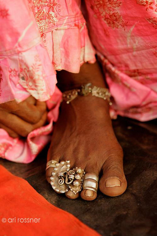 jewels on Gujarati woman's foot