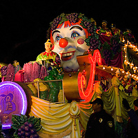 The Krewe of Bacchus parade was founded in 1968 and named after the Greek god of wine and vegetation.  Their parade rolls in Uptown along St. Charles Avenue on the Sunday before Mardi Gras. New Orleans, Louisiana, USA.