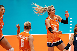 03-08-2019 ITA: FIVB Tokyo Volleyball Qualification 2019 / Netherlands, - Kenya Catania<br /> 3rd match pool F in hall Pala Catania between Netherlands - Kenya. Netherlands win 3-0 / Robin de Kruijf #5 of Netherlands, Laura Dijkema #14 of Netherlands