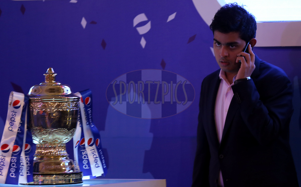 Akash Ambani during the Pepsi IPL Player Auction held at the ITC Gardenia in Bengaluru, India on the 13th February 2014<br /> <br /> Photo by Sandeep Shetty/BCCI/SPORTZPICS