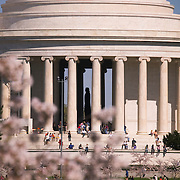 People at the Jefferson Memorial during the Annual Cherry Blossom Festival in Washington DC, USA<br />